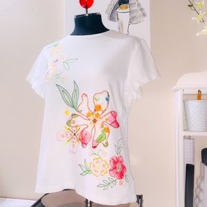 Coldwater Creek Embroidered Floral Tee